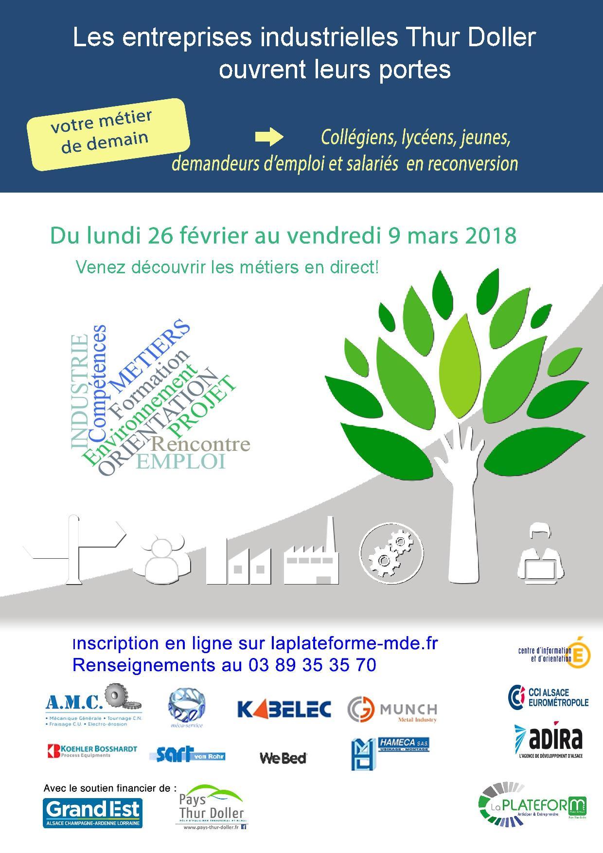 Les entreprises industrielles du pays thur doller ouvrent - Porte ouverte mulhouse culte en ligne ...