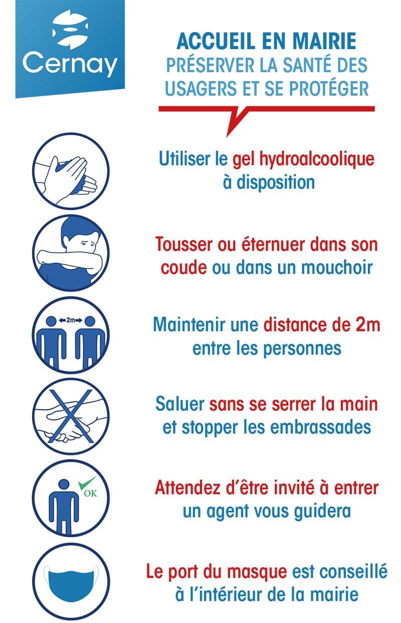Règles sanitaires en mairie de Cernay